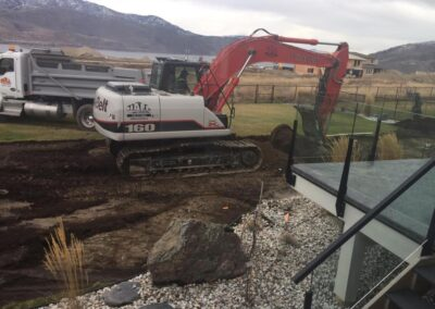 Breaking ground with an excavator